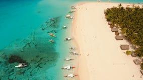 Aerial view beautiful beach on tropical island. Daco island, Philippines, Siargao. stock video footage