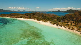 Aerial view beautiful beach on a tropical island Malcapuya. Philippines. stock video