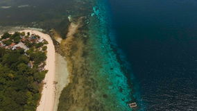 Aerial view beautiful beach on tropical island. Mantigue island Philippines. stock video footage