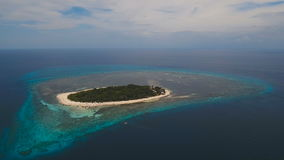 Aerial view beautiful beach on tropical island. Mantigue island Philippines. stock video