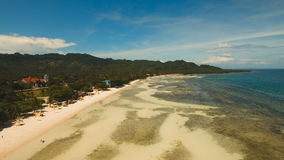 Aerial view beautiful beach on a tropical island. Philippines, Anda area. stock video