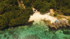Aerial view beautiful beach on a tropical island. Philippines, Anda area. stock footage