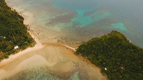 Aerial view beautiful beach on a tropical island. Philippines, El Nido. stock video footage