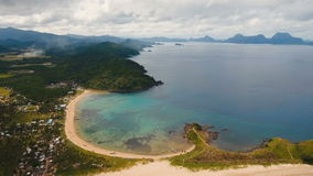 Aerial view beautiful beach on a tropical island. Philippines, El Nido. stock footage
