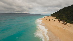 Aerial view beautiful beach on tropical island in stormy weather. Boracay island Philippines. stock footage