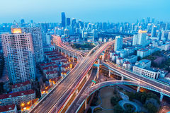 Aerial view of beautiful city interchange in nightfall Royalty Free Stock Image
