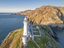 Aerial view of the beautiful cliffs close to the historic South Stack lighthouse on Anglesey - Wales. United Kingdom royalty free stock image