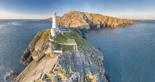 Aerial view of the beautiful cliffs close to the historic South Stack lighthouse on Anglesey - Wales. United Kingdom Royalty Free Stock Photos