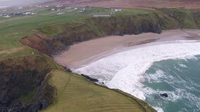 Aerial view of the beautiful coast at Malin Beg looking in County Donegal, Ireland.