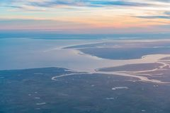 Aerial view of the beautiful Colchester area. At United Kingdom stock photography