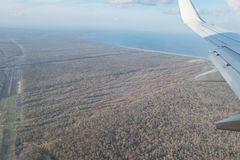 Aerial view of beautiful country side landscape. Near New Orleans airport stock photography