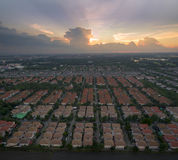 Aerial view of beautiful dramatic sky at evening and home villag Royalty Free Stock Image