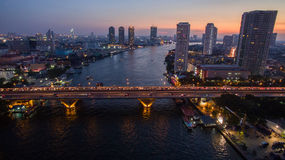 Aerial view of beautiful dusky time chaopraya river  Royalty Free Stock Image
