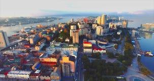 Aerial view of beautiful Egersheld peninsula in the morning. Vladivostok, Russia stock footage