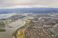 Aerial view of the beautiful Foster City near San Francisco. From an airplane window seat Stock Images