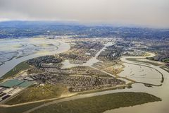 Aerial view of the beautiful Foster City near San Francisco. From an airplane window seat stock image