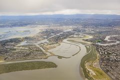 Aerial view of the beautiful Foster City near San Francisco. From an airplane window seat Stock Photo
