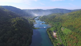 Aerial view of beautiful green canyon and waterfalls of Una river, Bosnia stock video footage