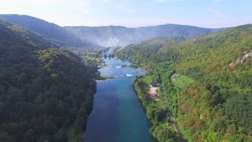 Aerial view of beautiful green canyon and waterfalls of Una river, Bosnia stock footage