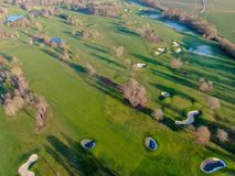 Aerial view of a beautiful green golf course. During winter time in South of Belgium, Europe stock image