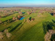 Aerial view of a beautiful green golf course. During winter time in South of Belgium, Europe stock photo