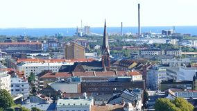 Aerial view of the beautiful Helsingborg stock footage