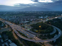 Aerial view, Beautiful high way street in Chiang mai, Thailand. Royalty Free Stock Images