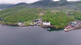 Aerial view of the beautiful historic harbour village of Crinan stock video