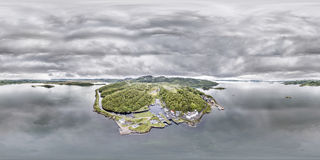 Aerial view of the beautiful historic harbour village of Crinan - Locks opening Part 02 Stock Photo