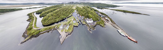 Aerial view of the beautiful historic harbour village of Crinan - Locks opening Part 02. Aerial view of the beautiful historic harbour village of Crinan, Argyll Royalty Free Stock Photography