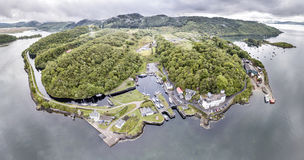 Aerial view of the beautiful historic harbour village of Crinan - Locks opening Part 02. Aerial view of the beautiful historic harbour village of Crinan, Argyll Stock Photography