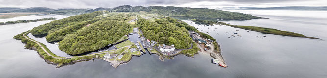 Aerial view of the beautiful historic harbour village of Crinan - Locks opening Part 02. Aerial view of the beautiful historic harbour village of Crinan, Argyll Royalty Free Stock Images