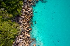 Aerial view of beautiful island at Seychelles in the Indian Ocean. Top view from drone.  stock images