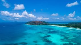 Aerial view of beautiful island at Seychelles in the Indian Ocean.Top view from drone.  stock image