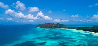 Aerial view of beautiful island at Seychelles in the Indian Ocean.Top view from drone.  royalty free stock photos
