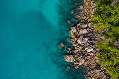 Aerial view of beautiful island at Seychelles in the Indian Ocean. Top view from drone.  royalty free stock images