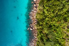 Aerial view of beautiful island at Seychelles in the Indian Ocean. Top view from drone.  royalty free stock photography