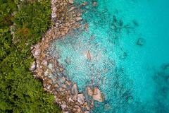 Aerial view of beautiful island at Seychelles in the Indian Ocean. Top view from drone.  royalty free stock image