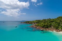 Aerial view of beautiful island at Seychelles in the Indian Ocean.Top view from drone.  royalty free stock photography