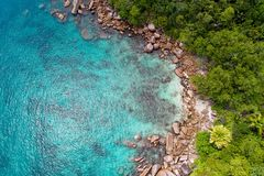 Aerial view of beautiful island at Seychelles in the Indian Ocean. Top view from drone.  stock image