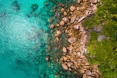 Aerial view of beautiful island at Seychelles in the Indian Ocean. Top view from drone.  royalty free stock photo