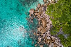 Aerial view of beautiful island at Seychelles in the Indian Ocean. Top view from drone.  royalty free stock photos