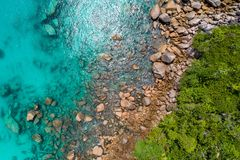 Aerial view of beautiful island at Seychelles in the Indian Ocean. Top view from drone.  stock photo