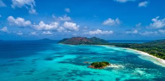 Aerial view of beautiful island at Seychelles in the Indian Ocea stock photography