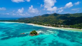 Aerial view of beautiful island at Seychelles in the Indian Ocea stock images