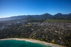 Beautiful aerial view of Kailua Beach, Oahu Hawaii on the greener and rainier windward side of the island. This is an aerial view of beautiful Kailua Beach royalty free stock photos