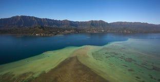 Beautiful aerial view of Kaneohe Bay Sandbar Oahu, Hawaii stock images