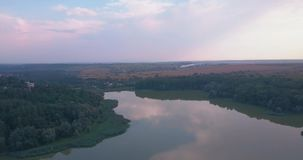 Aerial view of the beautiful lake. With diverse foliage and mangrove forests stock footage