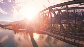 Aerial view beautiful landscape bridge lake river nature stock video footage