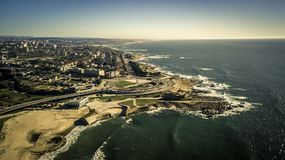 Aerial view on beautiful landscape on the downtown in Porto. Aerial view on beautiful landscape on the downtown in Porto near by Atlantic ocean. Coastline on Stock Photos